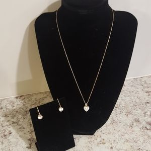 14kt Gold Heart Neclace and Earring Set